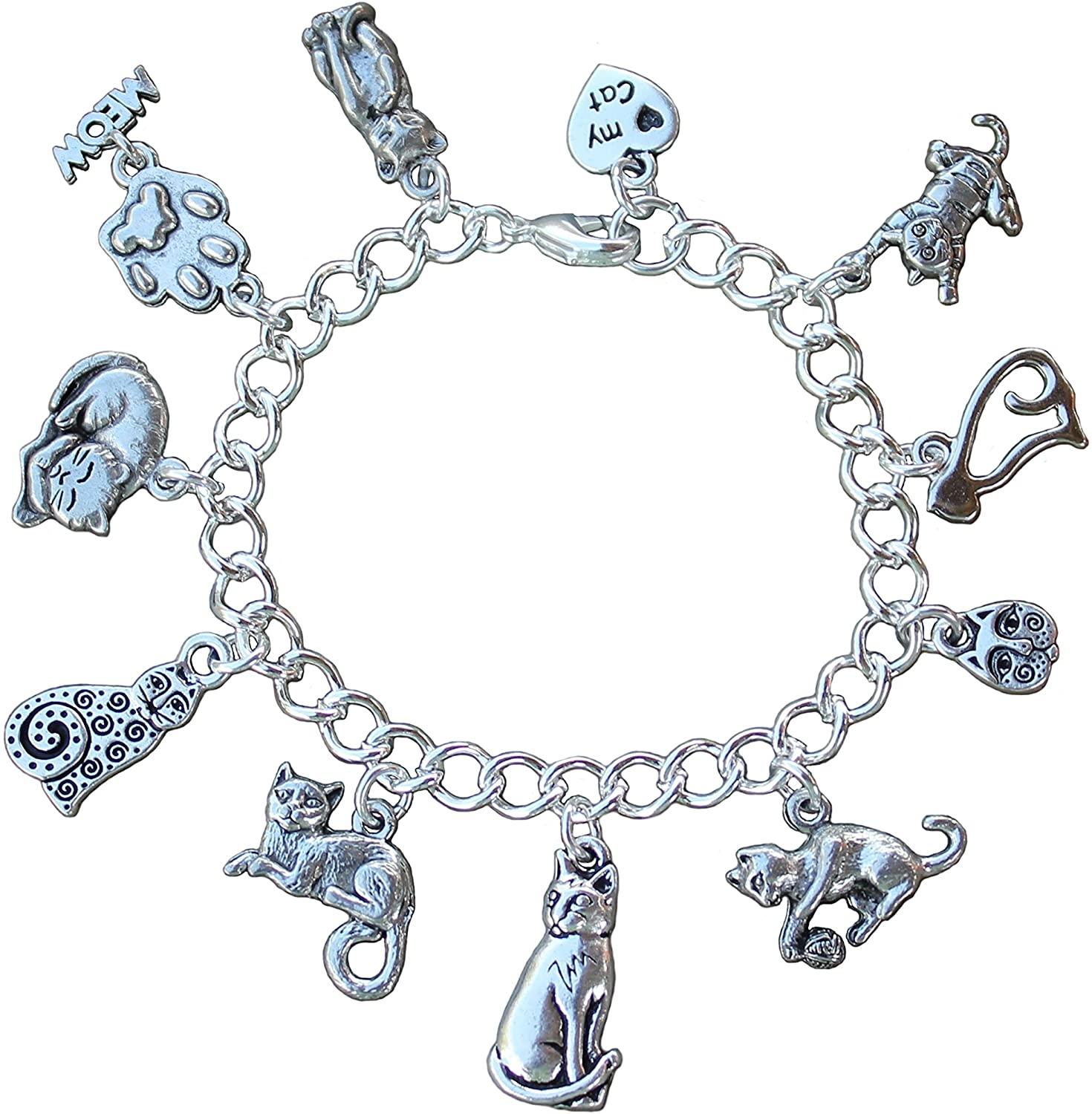 Night Owl Jewelry Silver Plated Love My Cat Charm Bracelet - Kitty Themed Charms on Chunky Silver Plated Chain- Sizes XS-XL