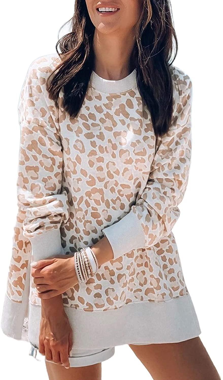 Grace's Secret Women's Sweatshirts CamoLeopard Print High-Low Edge Casual Loose Long Sleeve Shirt Pullover Tops