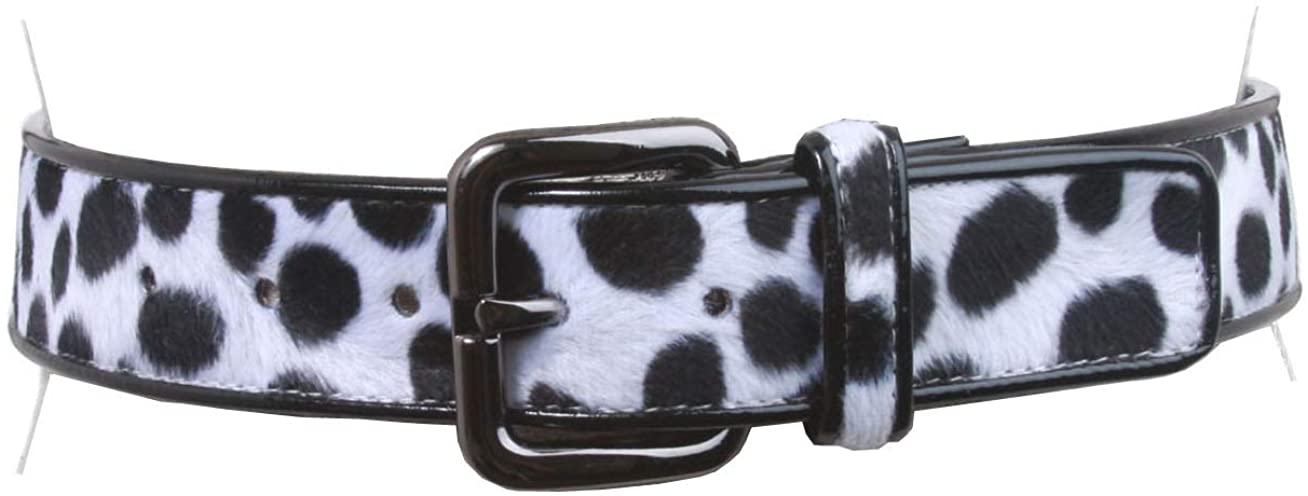 Women's Patent Leather Animal Faux Leopard Fur Fashion Belt