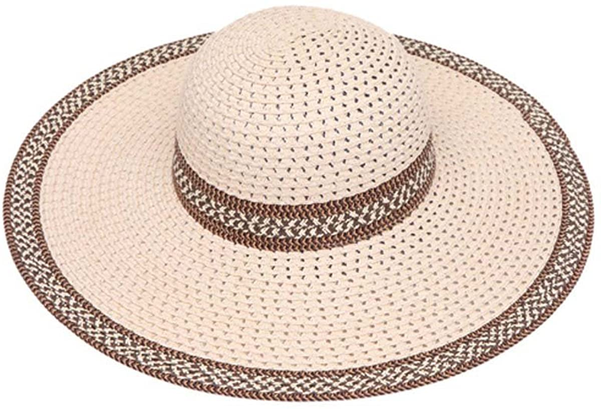 Womens Wide Brim Straw Floppy Sun Hat w/Houndstooth Band