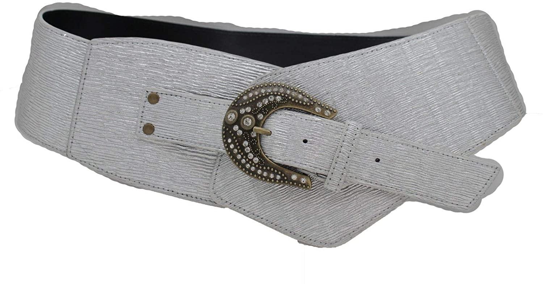 TFJ Women Western Wide Belt Hip Faux Leather Waistband Plus XL Metallic Silver