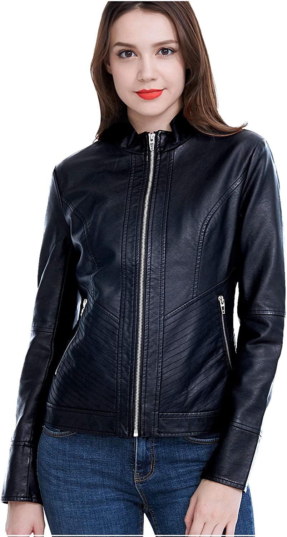 Fasbric Women's Faux Leather Jackets Long Sleeve Zipper Short Moto Biker Jacket Bomber Coat