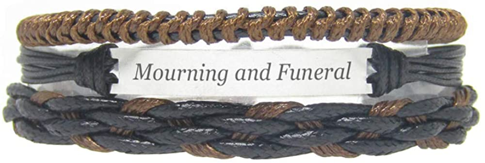 Miiras Women Handmade Bracelet - Mourning and Funeral - Black 9 - Make of Stainless Steel and Braided Rope - Gift for Women, Mothers, Daughters, Aunts, Grandmothers, Sisters.