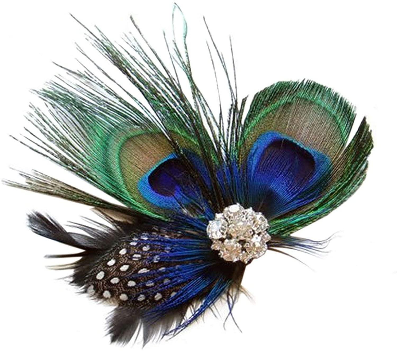Sheliky Fascinator Peacock Feather Hair Clip Wedding Headwear Party Headpiece for Women