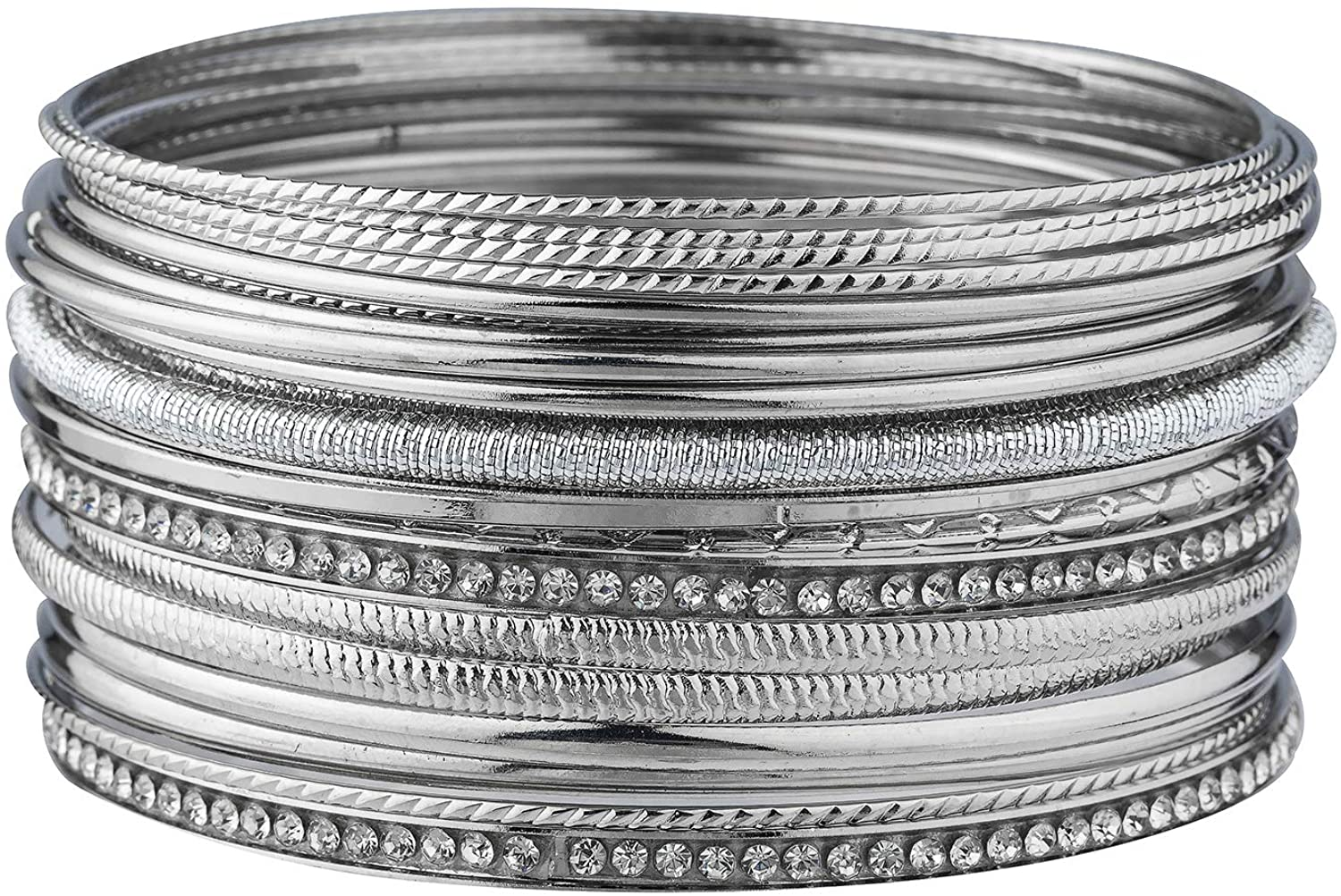 Lux Accessories Set of 20 Pieces Assorted Patterned Silvertone Bangle Fashion Bracelets
