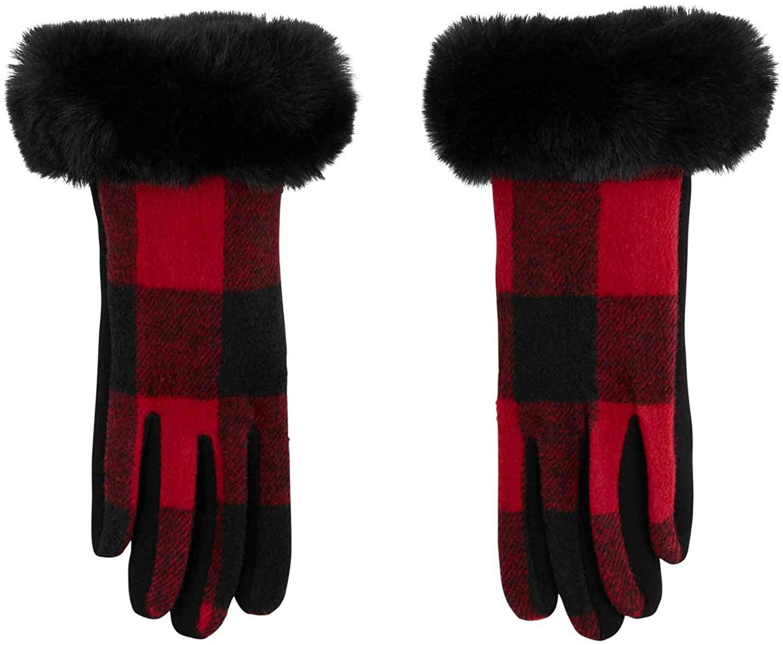 Mud Pie Plaid Fur Cuff Gloves