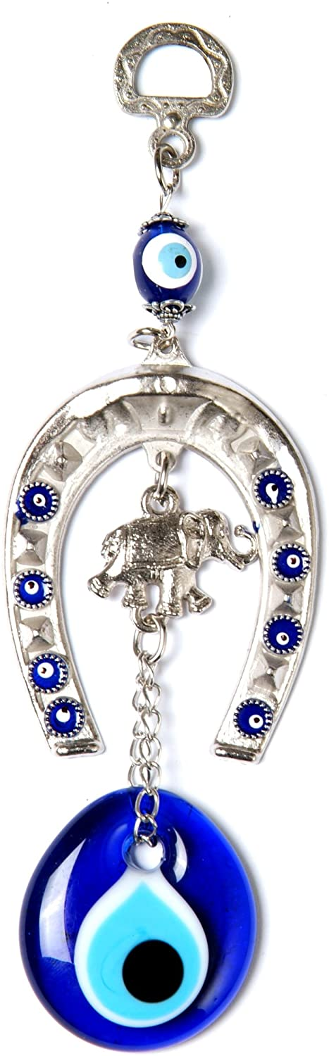 Evil Eye with Silver Horseshoe Luck Charm