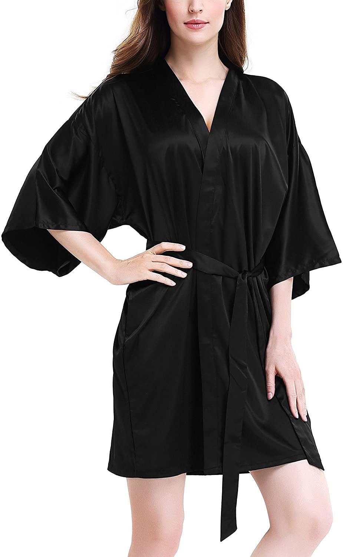 Genuwin Womens Silk Robe Kimono Robe Bridesmaid Satin Robe Knee Length Women Robes S~XL
