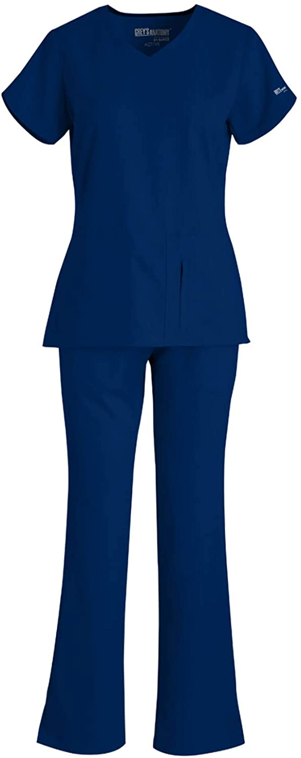 Grey's Anatomy 41423-4275 Women's Active Top - Drawstring Pant Medical Scrub Set Indigo XL-XL