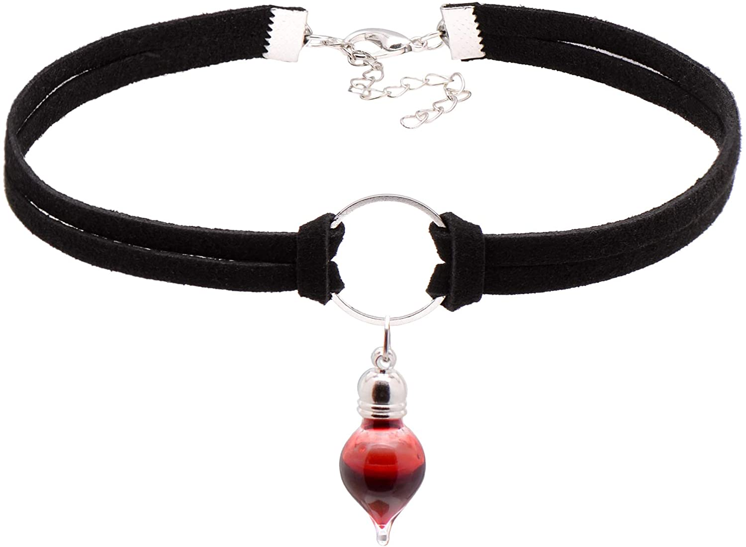 Paialco Jewelry Vampire Blood Vial Drop Rope Choker Necklaces for Halloween