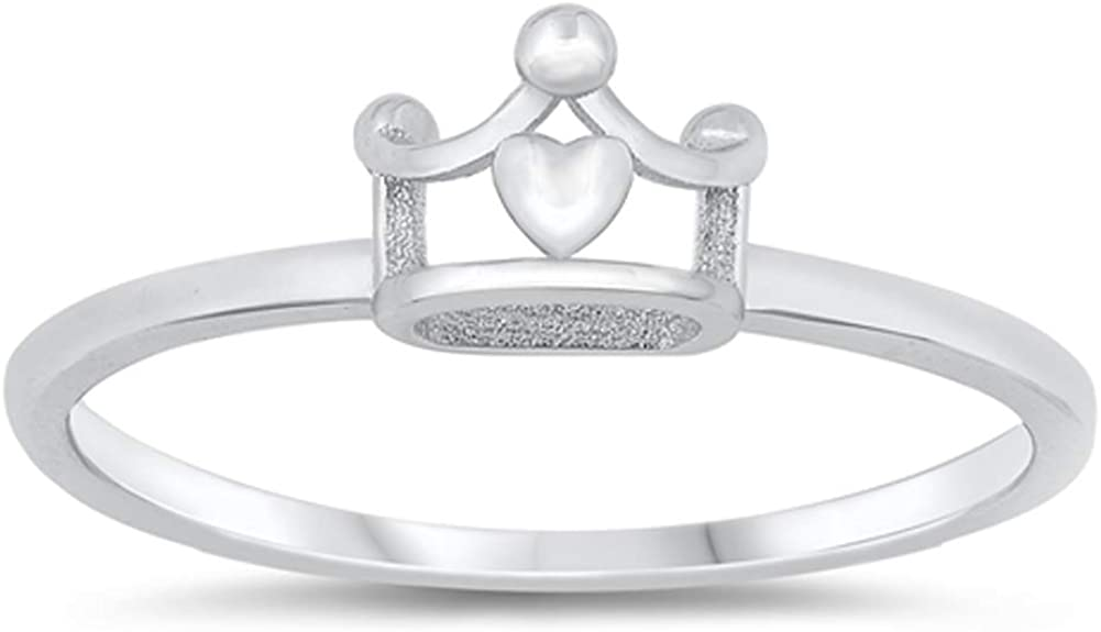 Polished Curly Swirly Princess Crown Promise Heart Ring New .925 Sterling Silver Band Sizes 3-10