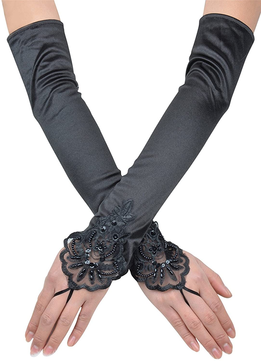 Ruolai Women's Wedding Gloves Long Elbow Length for Lady