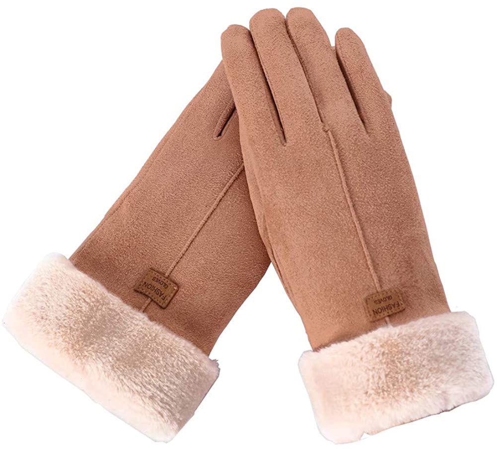 Santiny Winter Gloves for Women Ladies Wool Liner Warm Thermal Touch Screen Gloves Cold Weather Snow Running Texting Glove