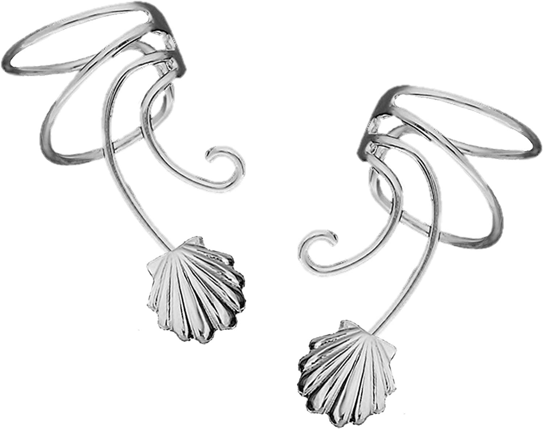 Ear Charms Nautical Sea Shell Wave Ear Cuff Non-pierced Earring Clips Pair Cartilage Wrap Ear Clips Rhodium on Sterling Silver