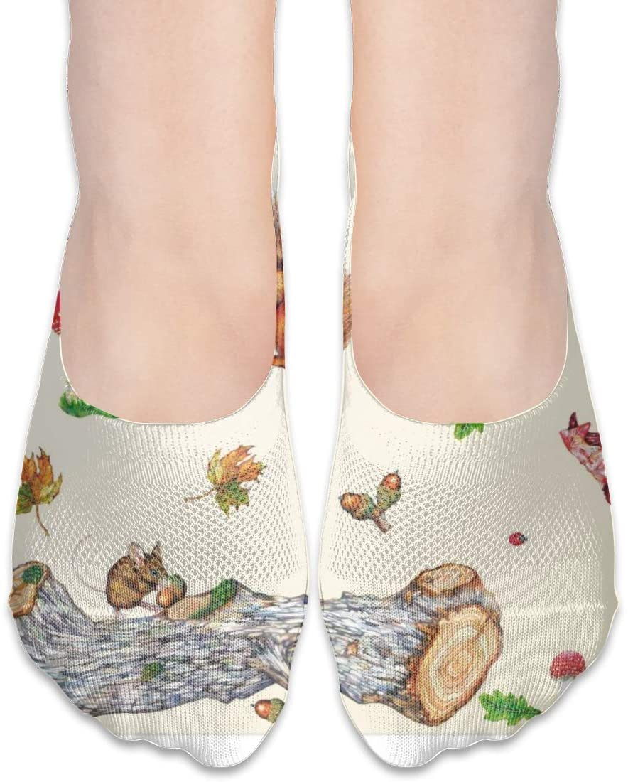 FriendEver No Show Socks,Squirrel Hedgehog Mushroom Casual Invisible Flat Socks,Breathable Anti-Odor Low Cut Women Cotton Sox,Non Slip Liner Sock