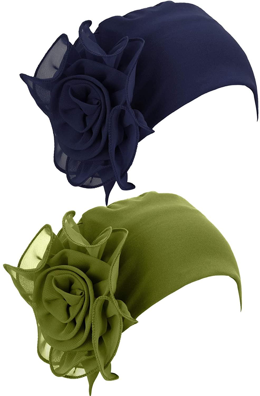 2 Pieces Chemo Turban Hats Flower Turban Hats Stretchy Ladies Turban Brim Cap Pile Vintage Turban Cap for Women Girls(Olive drab,Navy Blue)