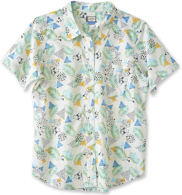 KAVU Girl Party Button Up Shirt - Boyfriend Fit Print