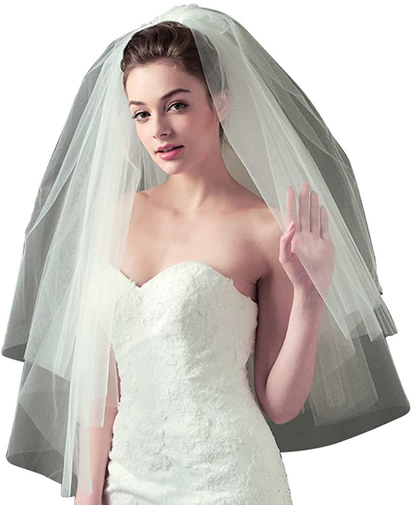 Faithclover Bridal Veils 2T Fingertip Length White Ivory Cut Edge Blusher with Comb Wedding Accessory