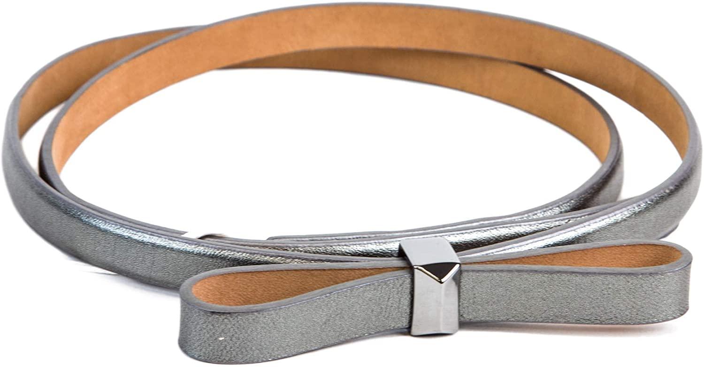 Max Mara Womens Eraclea Press Stud Bow Belt Medium Gunmetal
