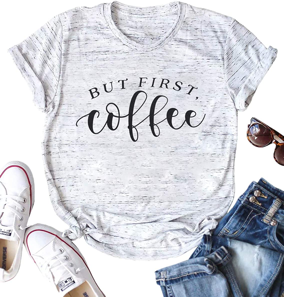 But First Coffee Shirt Women Funny Letter Print Tee Shirt Casual Short Sleeve Mom Gift Tee Top