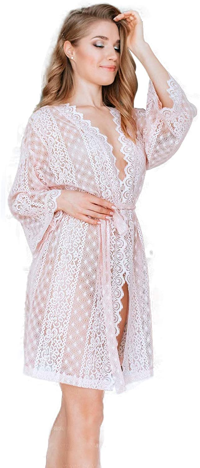 Bridal Robe with Bohemian Luxury Lace Robe Pink Pre Wedding Getting Ready Robe