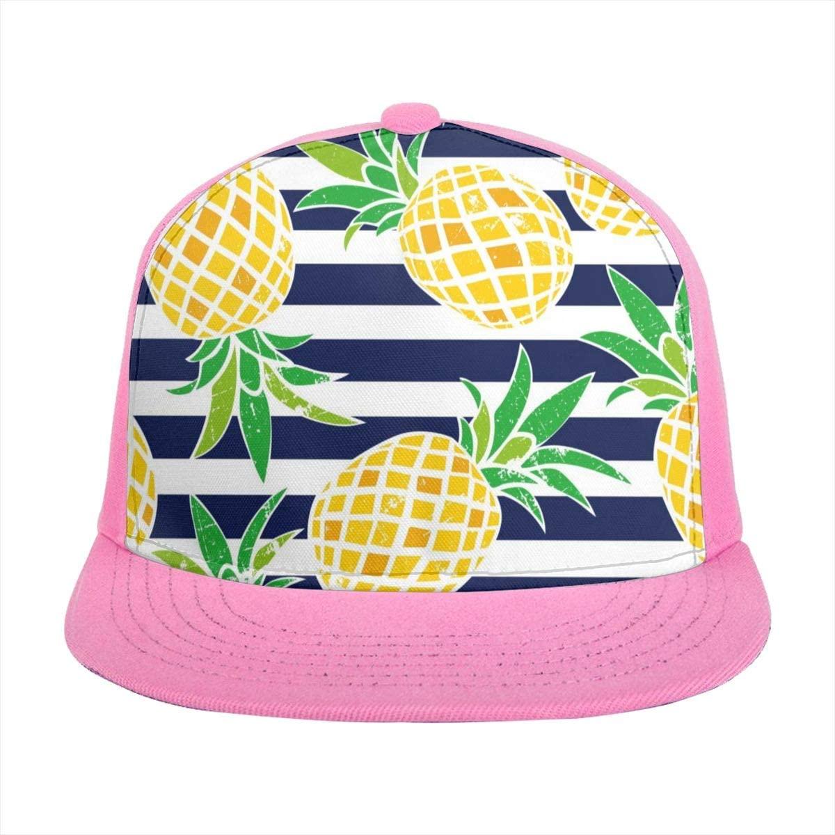 Flat Brim Hat Cartoon Fruit Yellow Pineapple Black and White Stripes Baseball Cap Sun Visor Hat for Women Men Teen Boys Girls