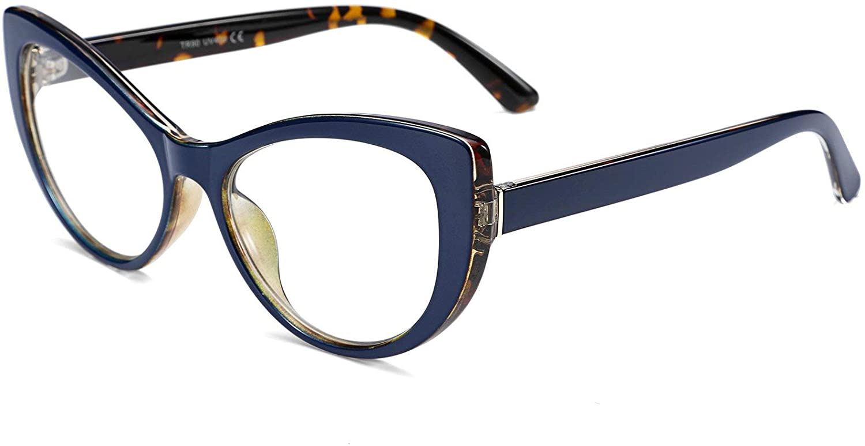 FEISEDY Womens Cateye Glasses Frame Printed Eyewear Non-prescription Eyeglasses B2441