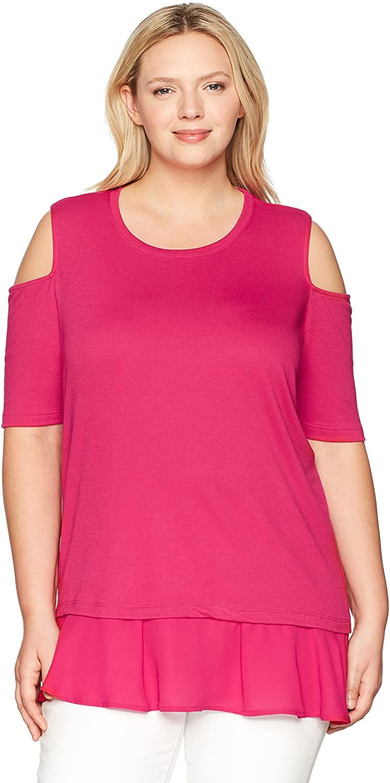 Love Scarlett Women's Plus Size Elbow Sleeve Cold Shoulder
