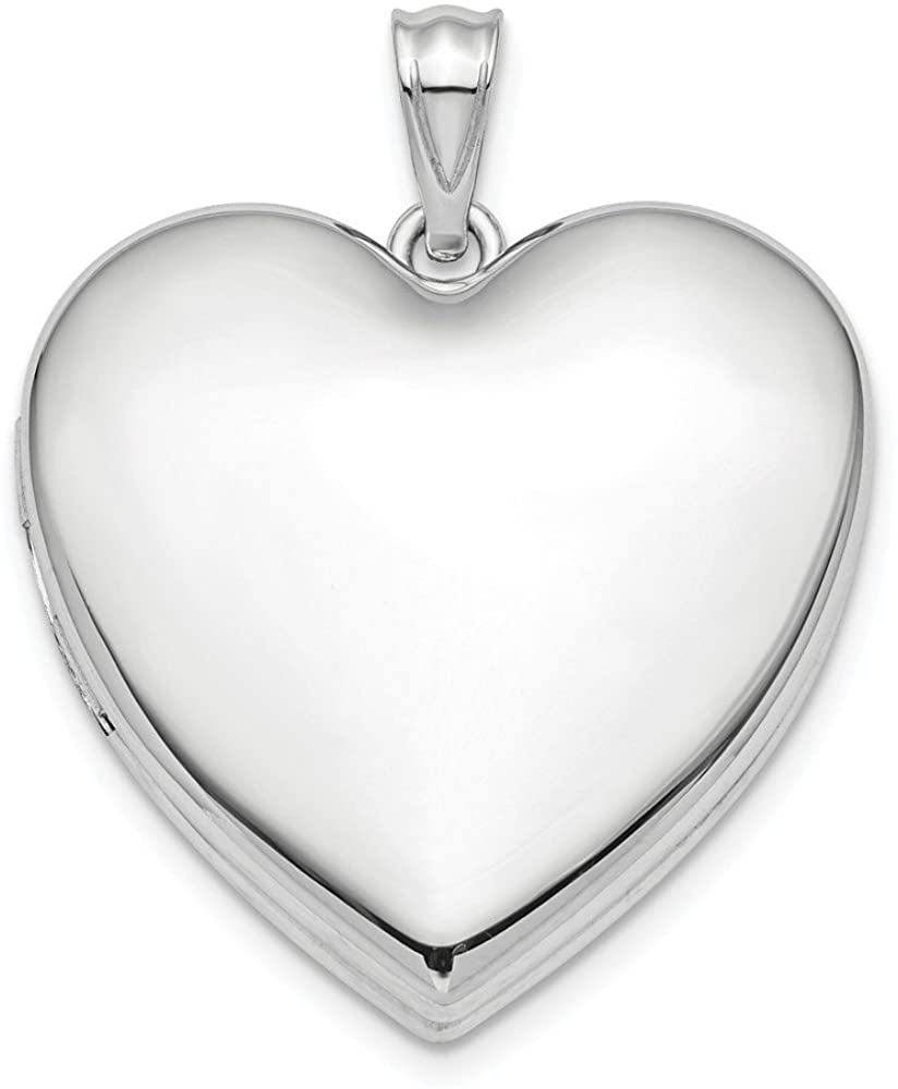 Beautiful Sterling silver 925 sterling Sterling Silver Rhodium-plated 24mm Plain Ash Holder Heart Locket