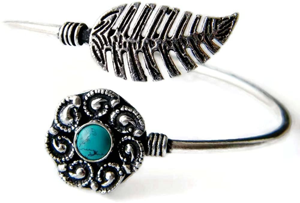 Surbhi Crafts Turquoise Bracelet Handmade Silver Plated Cuff Bangle Bracelet, Traditional Jewelry AH-9191