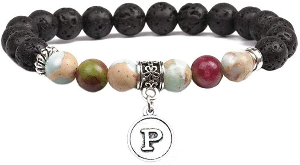 Initial Letter Disc Charm Bracelet Bangle Handmade Lava Rock Stone Beads Stretch Bracelet Chakra Yoga Energy Healing Bracelet for Women Men