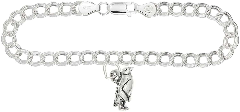 Lgu Sterling Silver Small Penguin on 4 Millimeter Charm Bracelet
