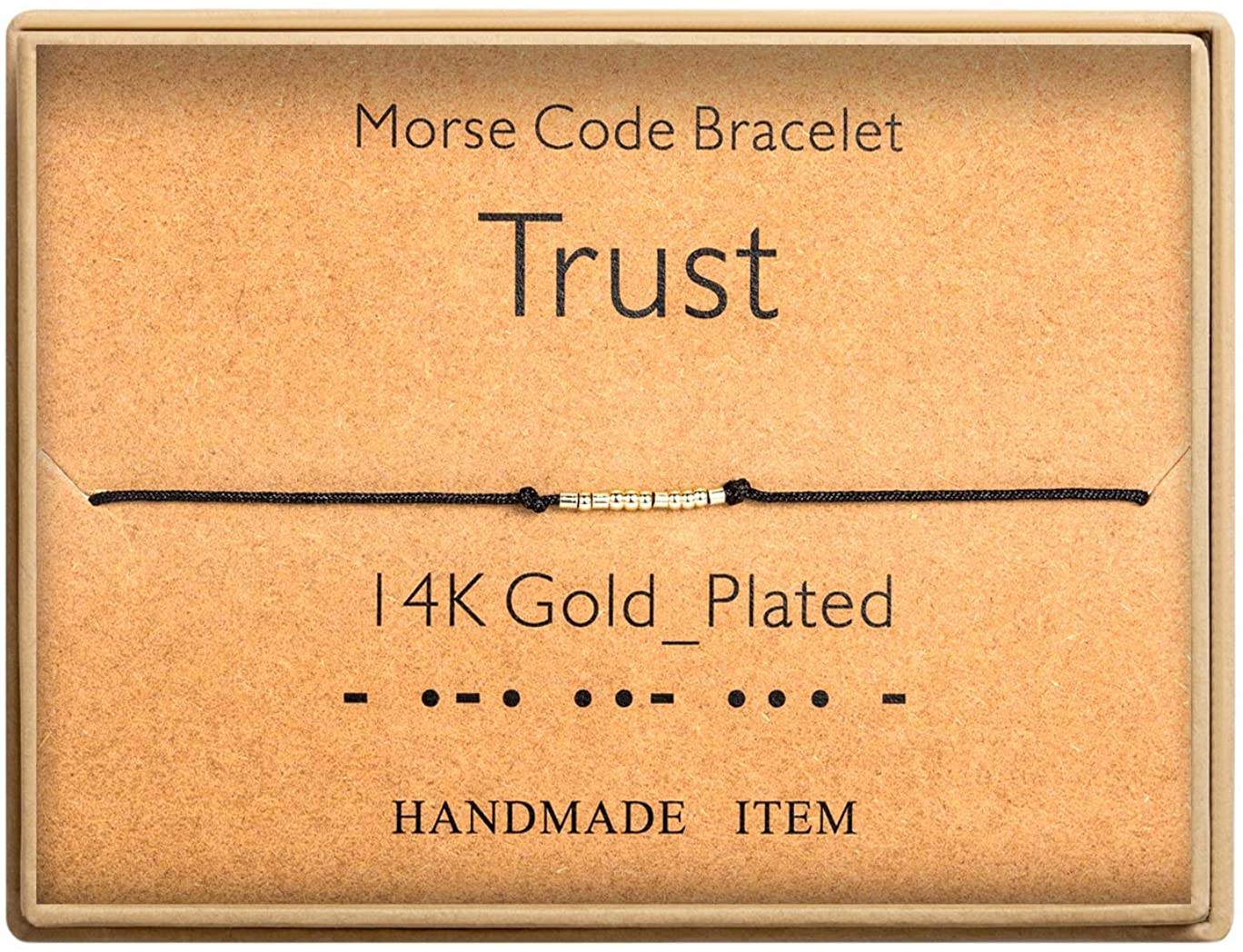 Morse Code Bracelet 14k Gold Plated Beads on Silk Cord Secret Message Trust Bracelet Gift Jewelry for Her