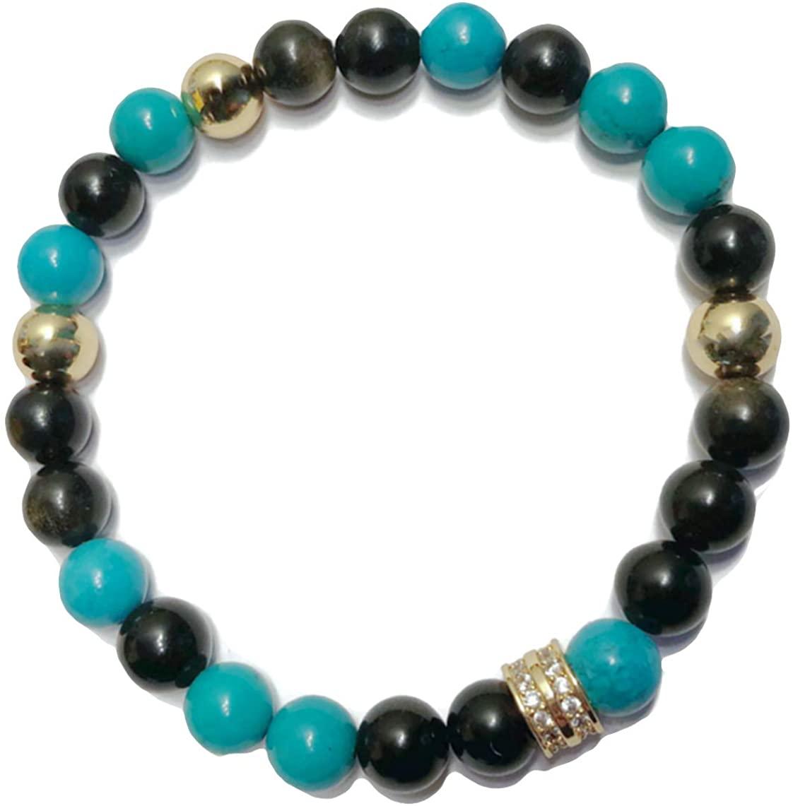 KarmaArm Healing | Wellness Self-Care Mantra Meditation Mala | Reiki Healing Energy Anxiety Calming Zen Chakra Yoga Wristband Bead Jewelry | Turquoise | Golden Obsidian
