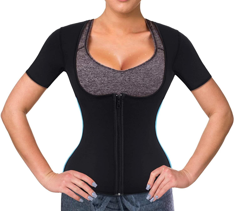 Wonderience Women Sauna Suit Waist Trainer Neoprene Shirt for Sport Workout Corset Hot Body Shaper Top