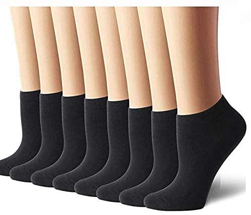 8 Pairs Womens Ankle Socks No Show Socks Women Socks Casual Socks (Black)