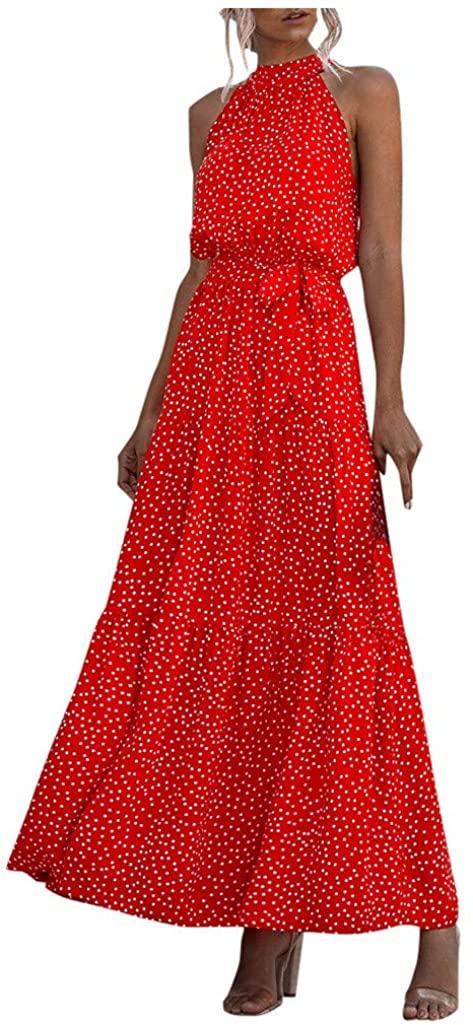 Fudule Womens Casual Loose Dresses Dot&Floral Print Boho Maxi Long Dresses Sundress Evening Party Summer Beach Dress