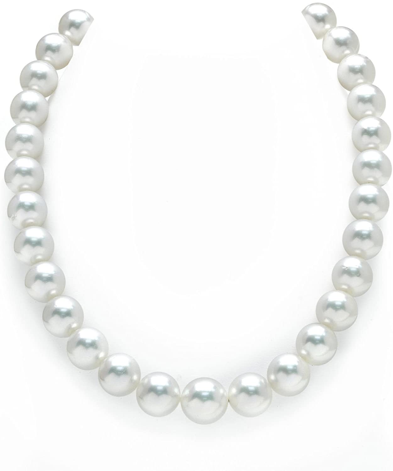 THE PEARL SOURCE 14K Gold 12-14mm Round Genuine White South Sea Cultured Pearl Necklace in 17