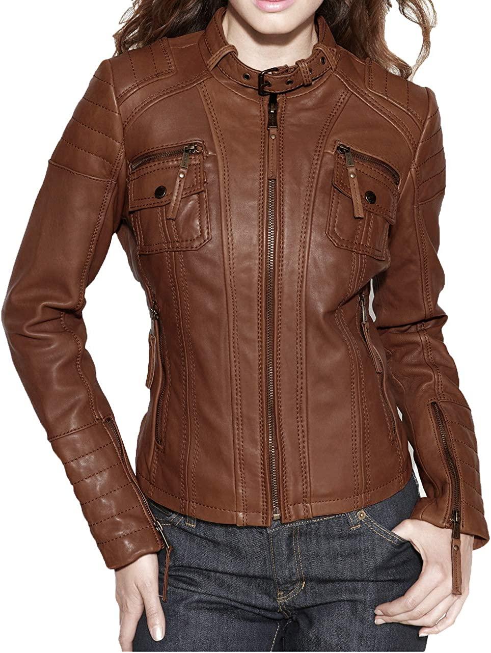 Benjer Skins Women's Leather Jacket Stylish Motorcycle Biker Genuine Lambskin 61