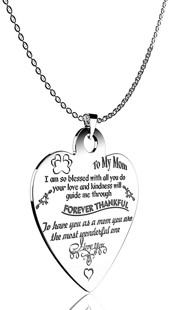 Stainless Steel Heart Pendant Chain Necklace Engraved Jewelry