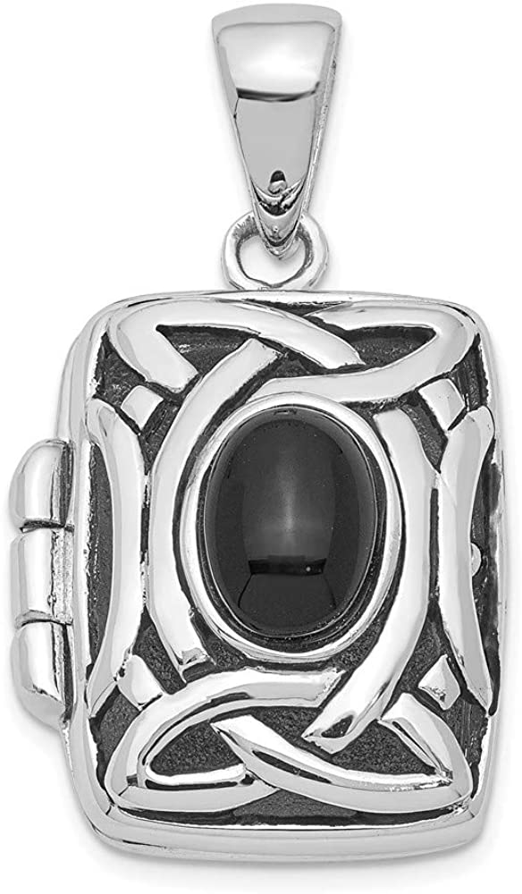 FB Jewels Solid 925 Sterling Silver Onyx Locket (0.67 x 1.18 Inches)