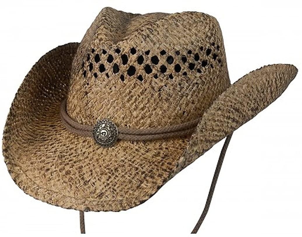 Conner Hats Men's John Stone Western Shapeable Raffia Hat, Coffee, L/XL
