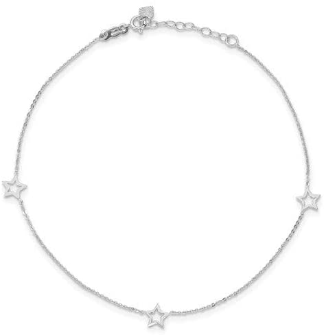 14 Karat White Gold 3 Star Anklet 9 Inches In Length With 1 Inch Extender