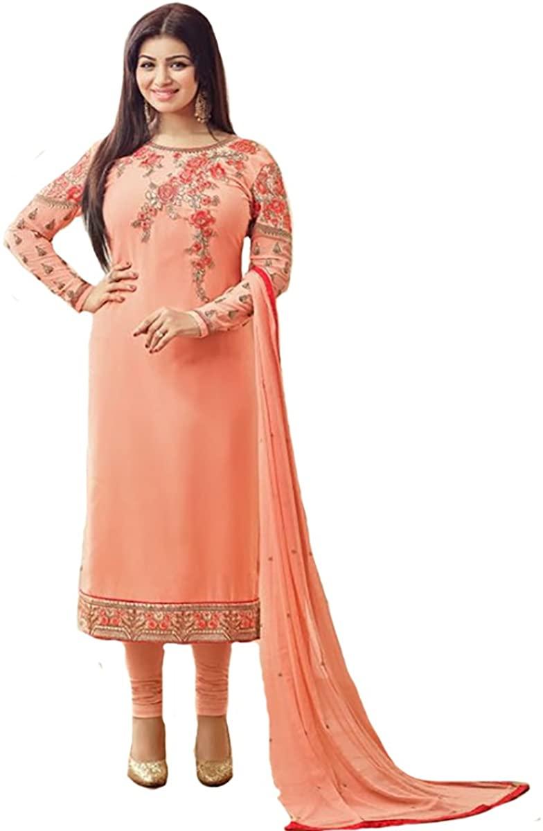 Indian Party wear Straight Salwar Kameez Suit Dupatta Ceremony Gown