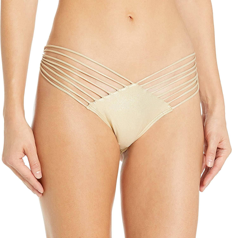 Luli Fama Women's Cosita Buena Strappy Brazilian Ruched Back Bikini Bottom