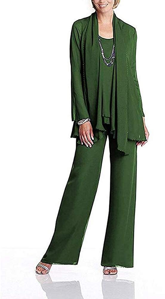 Women's Green Chiffon Mother of The Bride Dress 3 Piece Pants Suit with Jacket US24W