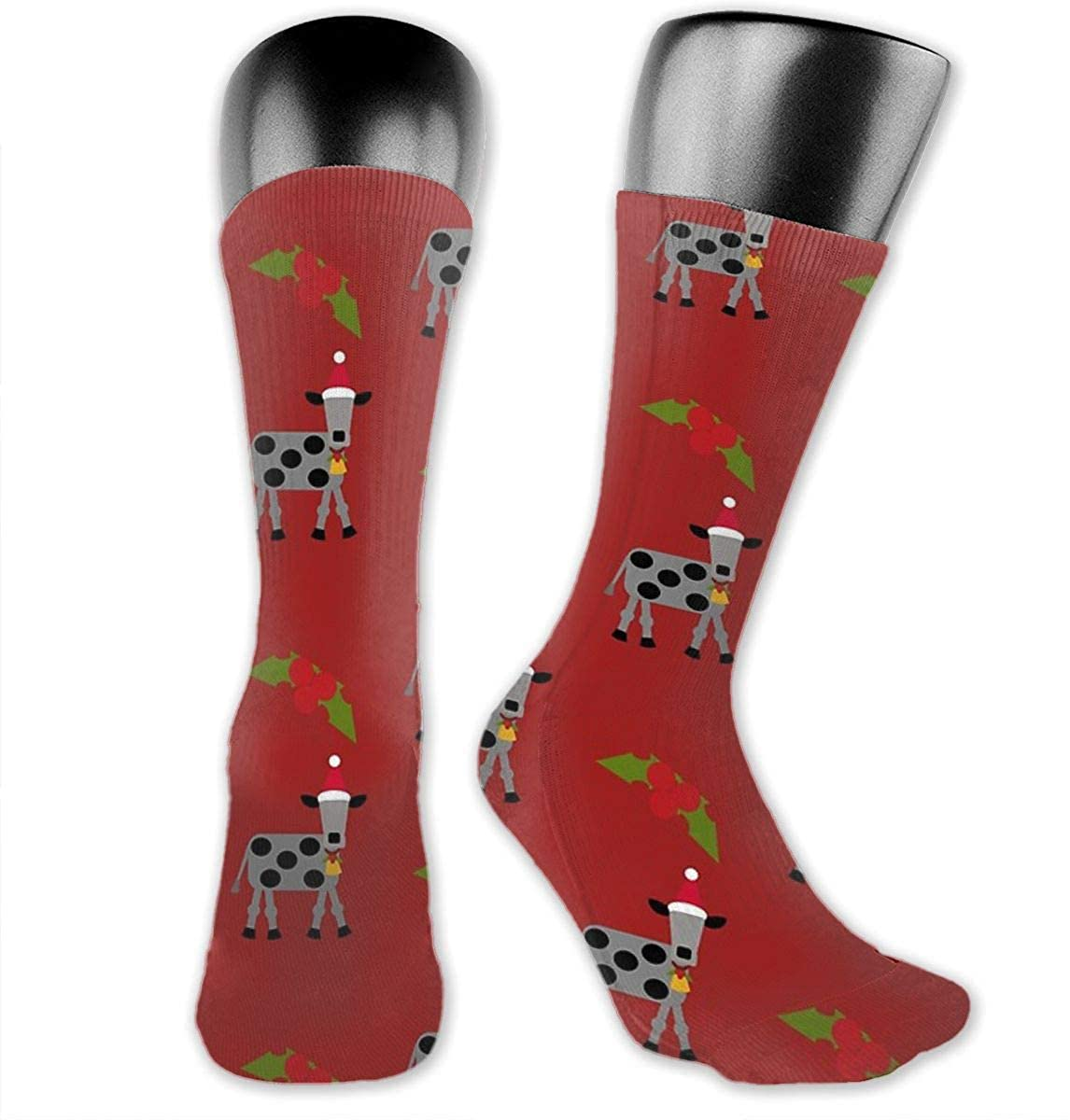 Unisex Crazy Funny Cool 3D Print Holiday Cow With Holly Socks Running Medica Socks Novelty Casual Crew Socks