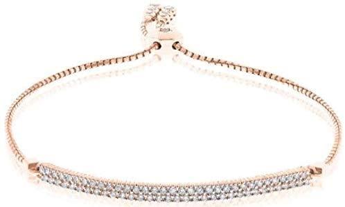 .42CT DIAMOND 18K ROSE GOLD 2 ROW BAR FLEXIBLE ADJUSTABLE SQUARE TENNIS BRACELET