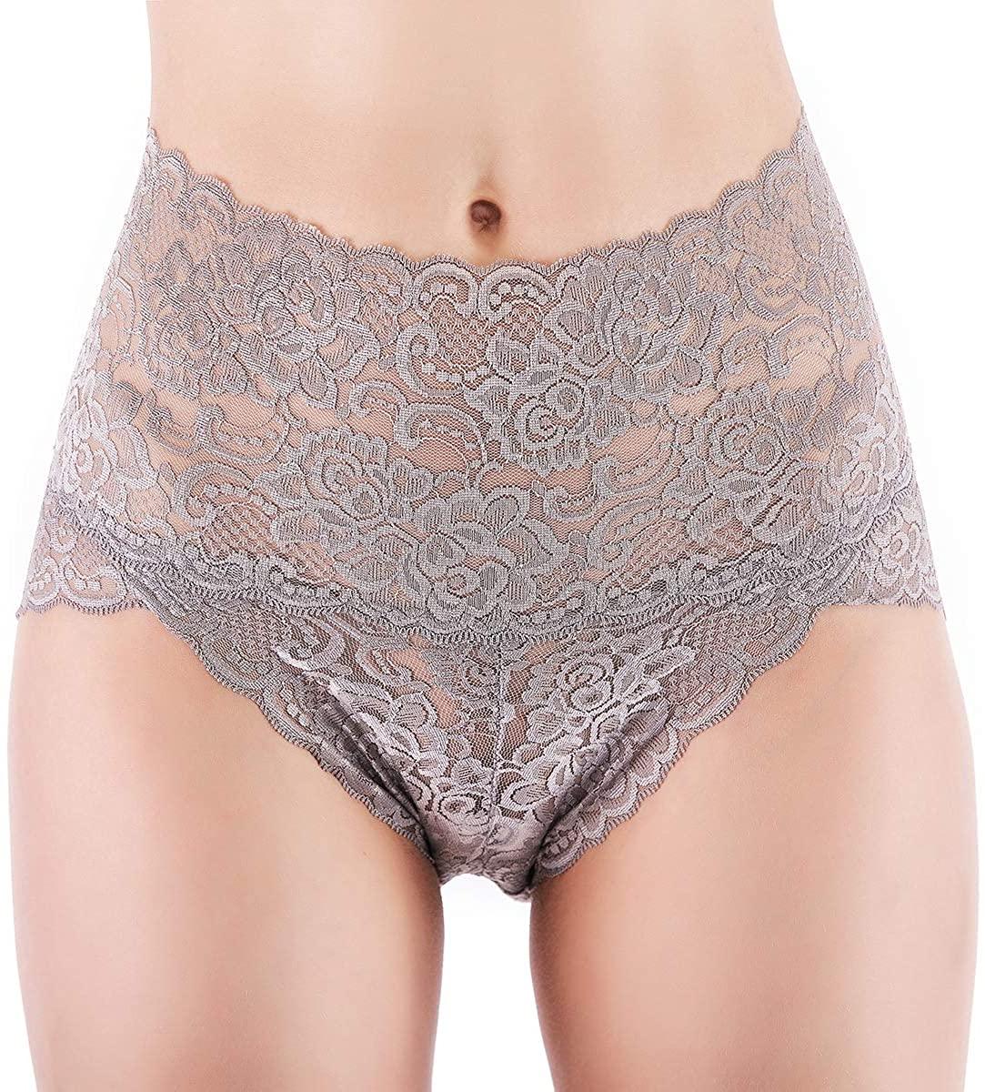Women Lace Underwear High Waist Lingerie Tummy Control Panties Briefs