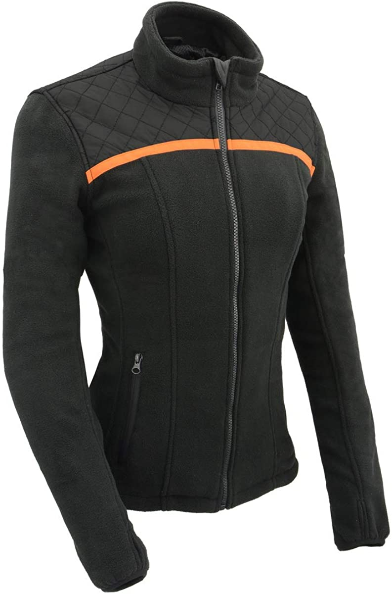 Milwaukee Leather MPL2783 Women's Black Micro Fleece Zipper Front Jacket with Orange Stripe